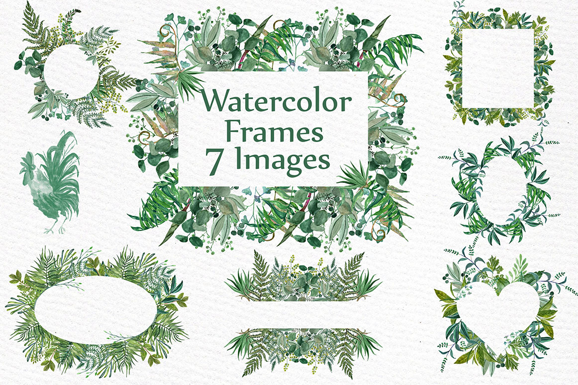Watercolor Fern Frames clipart WATERCOLOR FRAMES Greenery clipart ...