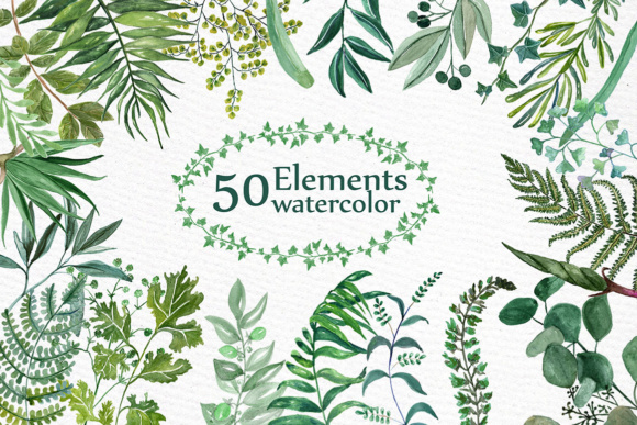 Watercolor Ferns Clipart WATERCOLOR CLIP ART Branches Clipart Greenery Clipart Graphic Illustrations By LeCoqDesign