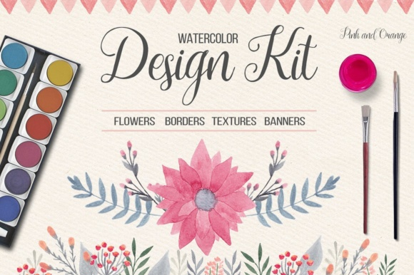 Watercolor Floral Design Kit Graphic By switzershop