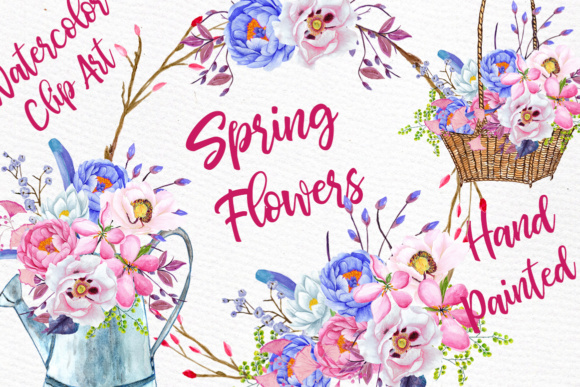 Watercolor Flowers Watercolor Clipart Spring Flowers Wedding Clipart