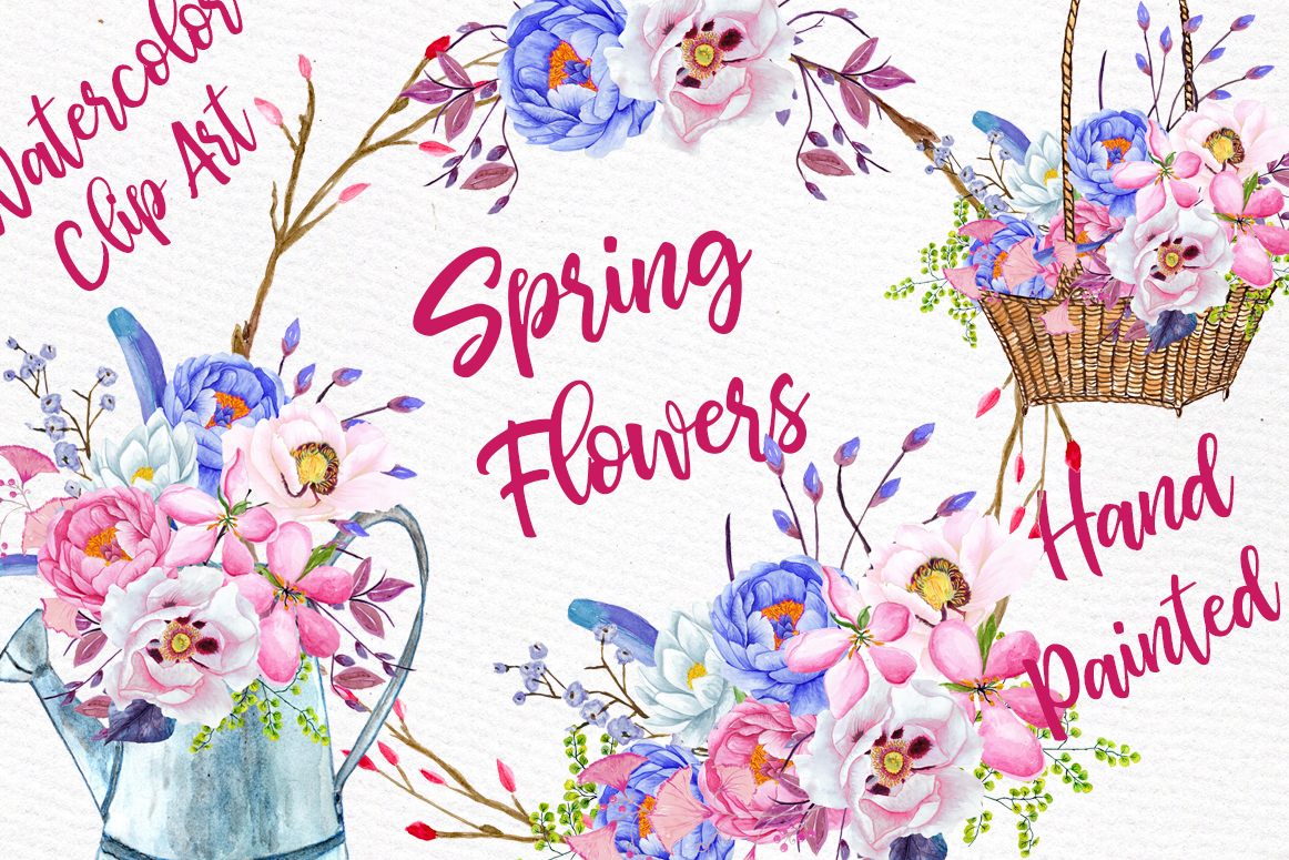 Watercolor Flowers Watercolor Clipart Spring Flowers Wedding