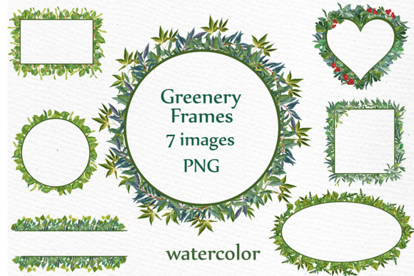Watercolor Greenery Frames Clipart WATERCOLOR FERNS Wedding Clip Art Foliage