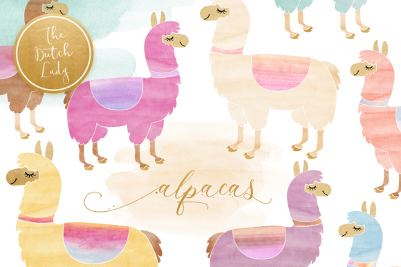 Print on Demand: Watercolor Lama & Alpaca Clipart Graphic Illustrations By daphnepopuliers