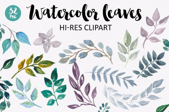 Watercolor Leaves Collection Graphic Illustrations By switzershop