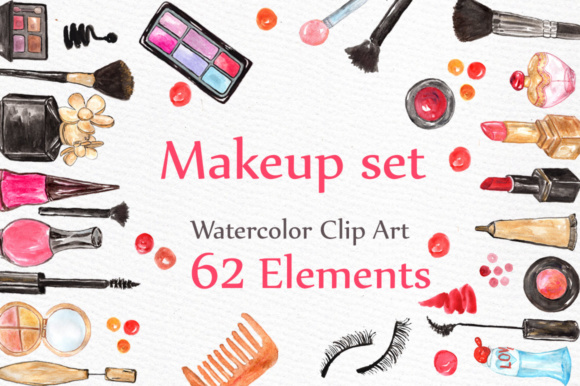 Watercolor Makeup Clipart Graphic Illustrations By LeCoqDesign