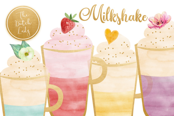 Download Free Watercolor Milkshake Sorbet Clipart Graphic By Daphnepopuliers for Cricut Explore, Silhouette and other cutting machines.