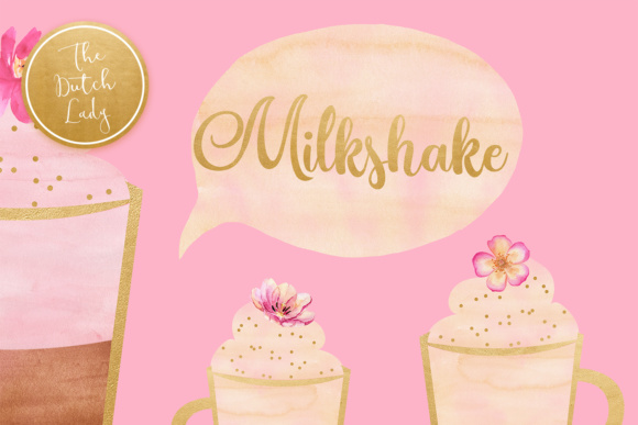 Download Free Watercolor Milkshake Sorbet Clipart Graphic By Daphnepopuliers SVG Cut Files