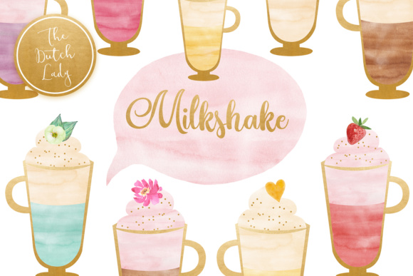Print on Demand: Watercolor Milkshake Sorbet Clipart Graphic Illustrations By daphnepopuliers