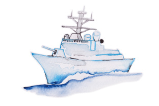 Watercolor Navy Ship Craft Design By Creative Fabrica Crafts