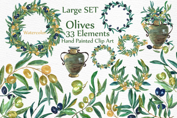 Download Free Watercolor Olive Clip Art Set Graphic By Lecoqdesign Creative for Cricut Explore, Silhouette and other cutting machines.