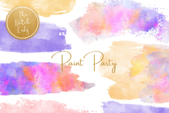 Print on Demand: Watercolor Paint Party Clipart Graphic Crafts By daphnepopuliers
