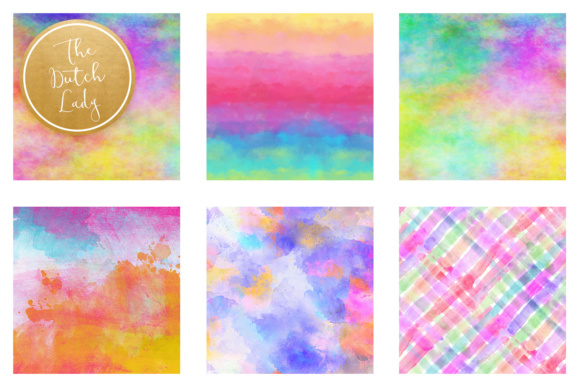 Print on Demand: Watercolor Rainbow Scrapbook Papers Graphic Textures By daphnepopuliers - Image 3