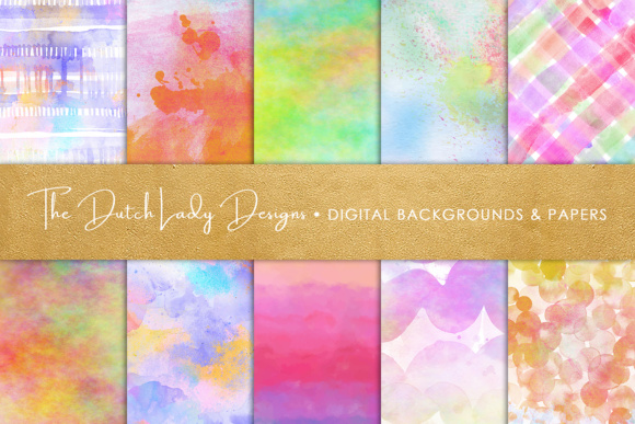 Print on Demand: Watercolor Rainbow Scrapbook Papers Graphic Textures By daphnepopuliers