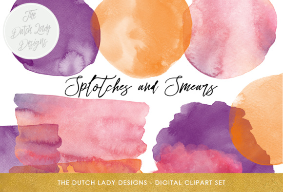 Print on Demand: Watercolor Splotches & Smear Clipart in Pink, Purple and Orange Graphic Crafts By daphnepopuliers