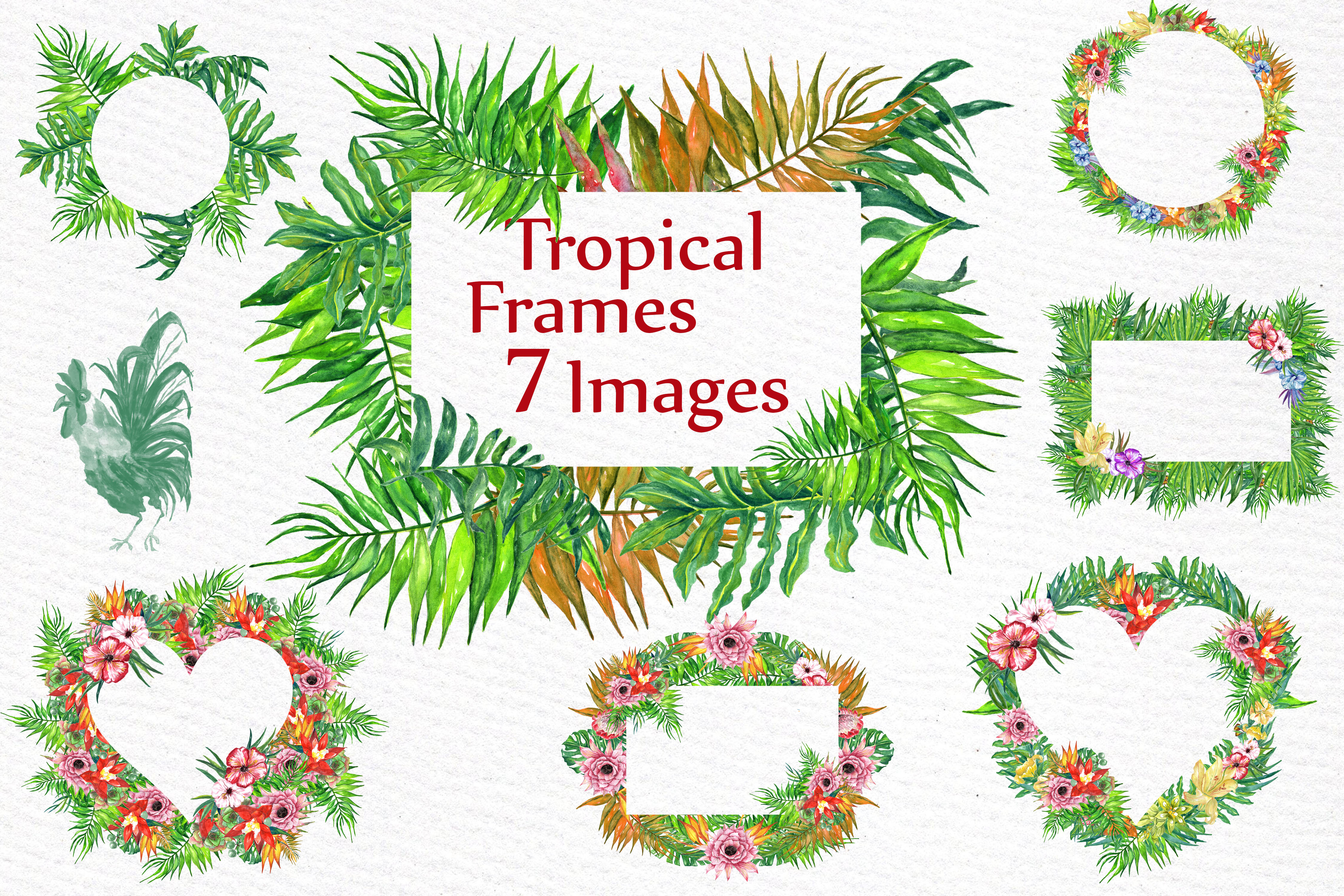 Download Free Watercolor Tropic Frames Clipart Tropical Clipart Tropical Leaves for Cricut Explore, Silhouette and other cutting machines.