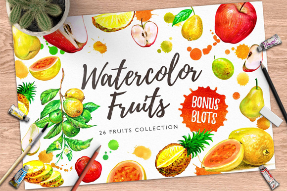 Watercolor Tropical Fruits Vol. 1 Graphic Illustrations By Graphobia
