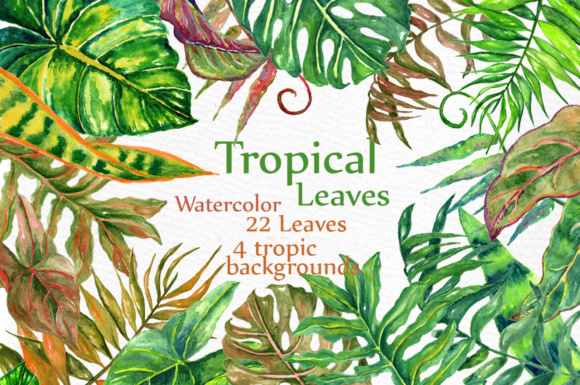 Download Free Watercolor Tropical Leaves Clip Art Graphic By Lecoqdesign for Cricut Explore, Silhouette and other cutting machines.