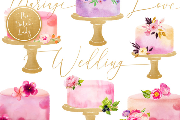 Print on Demand: Watercolor Wedding Cake Clipart Graphic Illustrations By daphnepopuliers