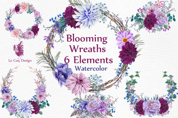 Blooming Watercolor Wreaths Graphic Illustrations By LeCoqDesign