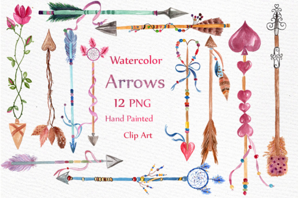 Watercolor Arrows Clipart Graphic Illustrations By LeCoqDesign