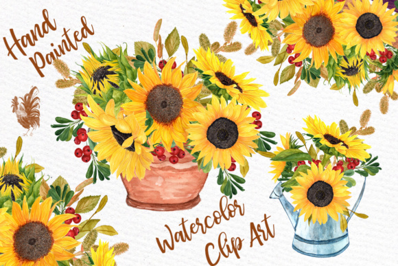 Watercolor Clipart SUNFLOWER CLIPART Wedding Invitations Wedding Clipart Floral Bouquets Yellow Flowers Graphic Illustrations By LeCoqDesign