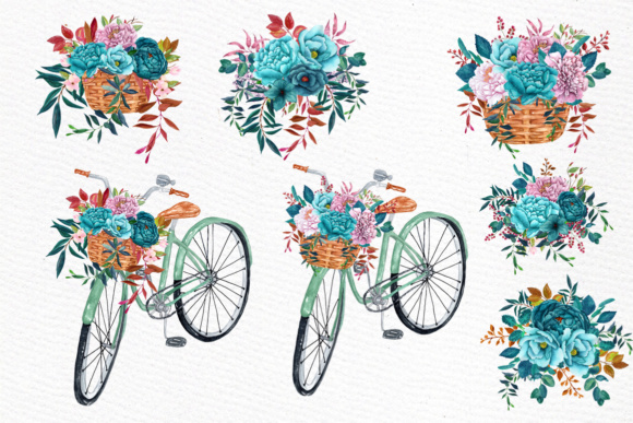 Download Free Watercolor Clipart Watercolor Bouquets Bicycle Clipart Romantic for Cricut Explore, Silhouette and other cutting machines.