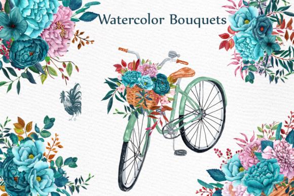Watercolor Clipart WATERCOLOR BOUQUETS Bicycle Clipart Romantic Clipart Teal Flowers Wedding Bouquets Graphic Illustrations By LeCoqDesign