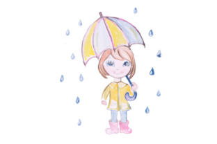 Watercolor Cute Girl with Umbrella Craft Design By Creative Fabrica Crafts