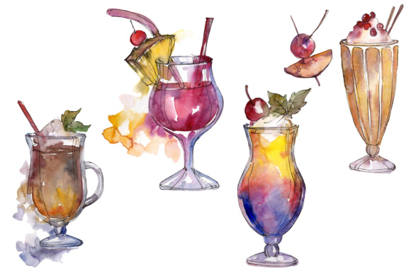 Download Free Watercolor Exotic Drink Cocktail Set Graphic By Mystocks for Cricut Explore, Silhouette and other cutting machines.