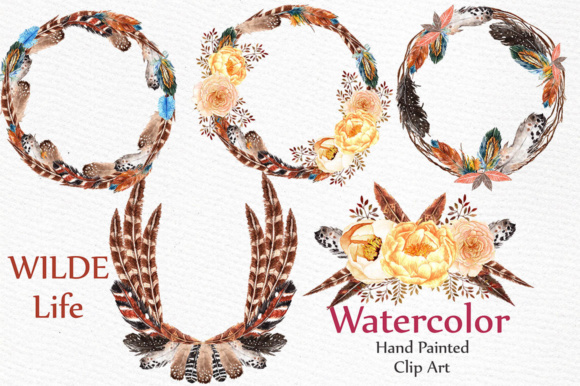 Watercolor Feather Wreaths Clipart Graphic Illustrations By LeCoqDesign