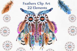 Print on Demand: Watercolor Feathers Clipart: Graphic Illustrations By LeCoqDesign