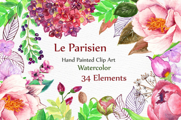 Watercolor Floral Clip Art Graphic Illustrations By LeCoqDesign