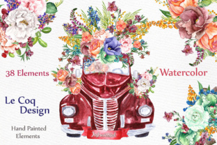 Print on Demand: Watercolor Floral Clip Art Graphic Illustrations By LeCoqDesign