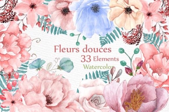 Watercolor Fleur Douces Set Graphic Illustrations By LeCoqDesign