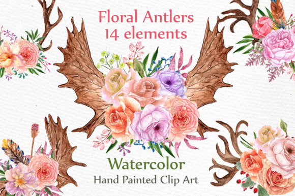 14 Floral Hand Painted Antlers Graphic Illustrations By LeCoqDesign