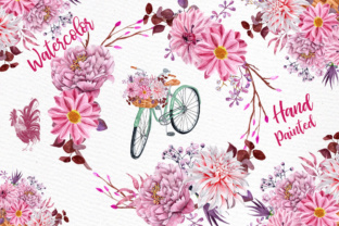 Print on Demand: Watercolor Flowers Clipart FLORAL CLIPART Floral Bicycle Wedding Clipart Floral Bouquets Pink Flowers Graphic Illustrations By LeCoqDesign