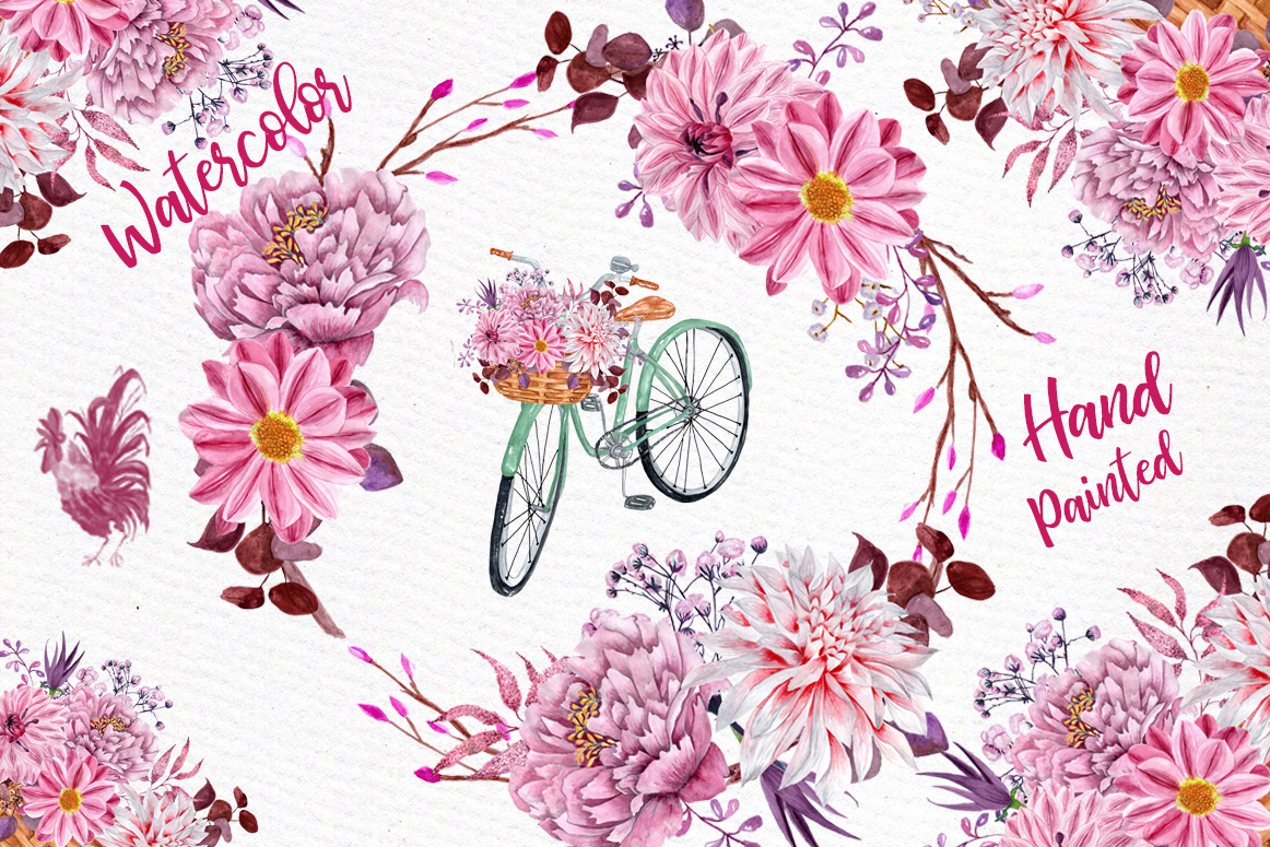 Watercolor flowers clipart FLORAL CLIPART Floral bicycle ...