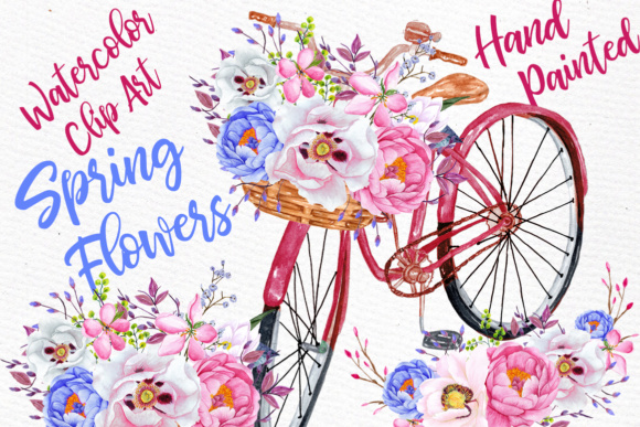 Watercolor Flowers Clipart FLORAL CLIPART Floral Bicycle Wedding Clipart Floral Bouquets Pink Flowers Graphic Illustrations By LeCoqDesign