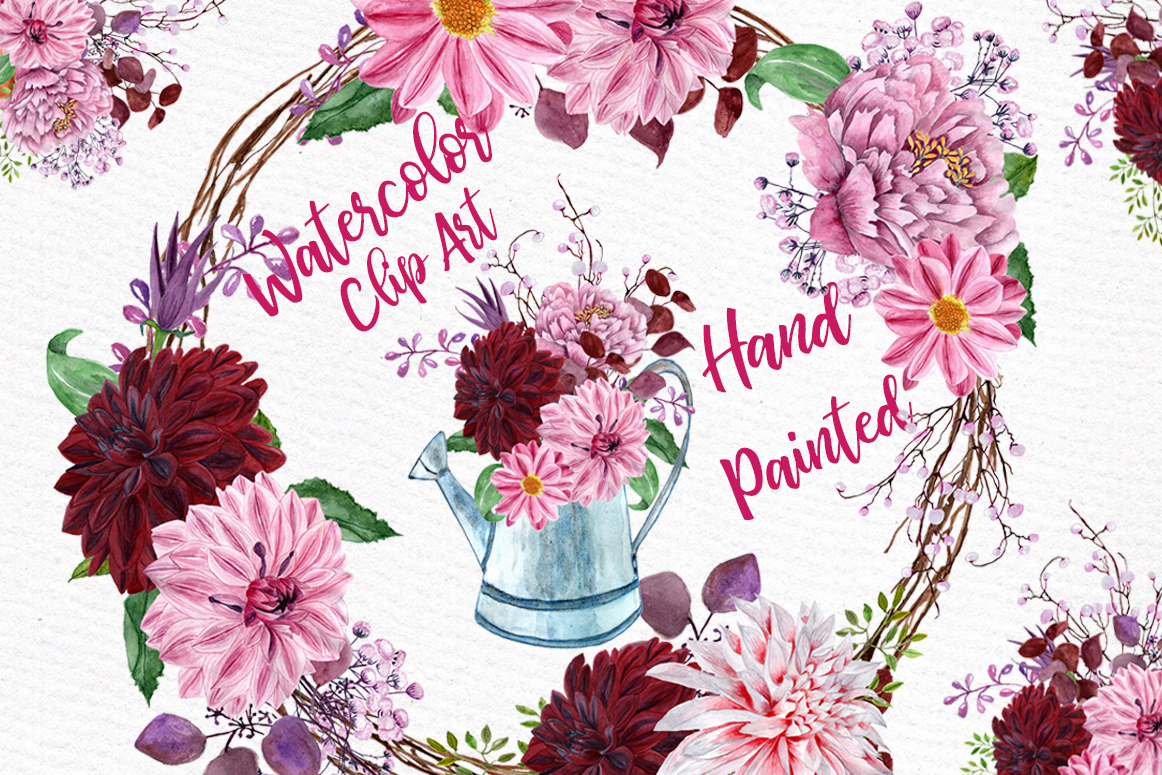 Watercolor Flowers Clipart Floral Clipart Flowers Wreaths Wedding