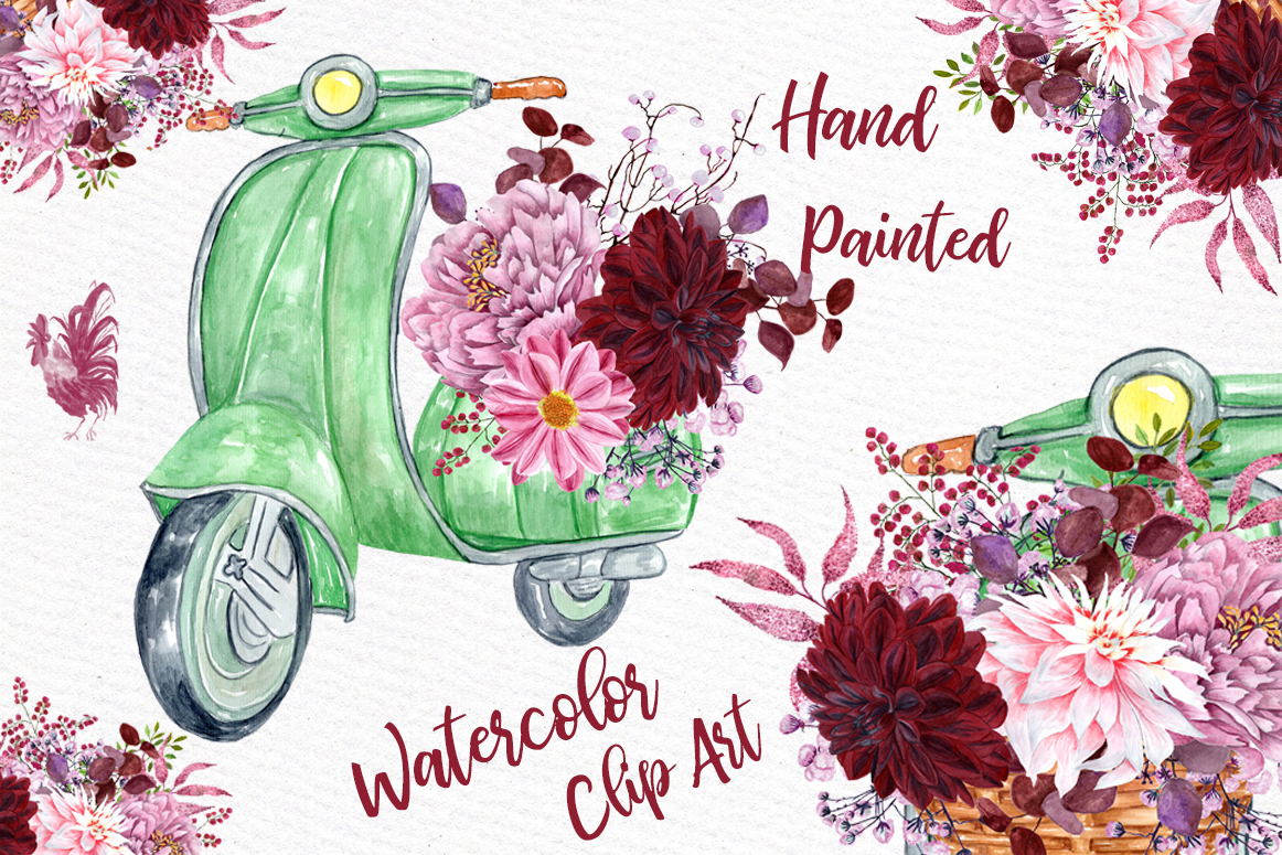 Watercolor Flowers Clipart Floral Clipart Wedding Invites Wedding