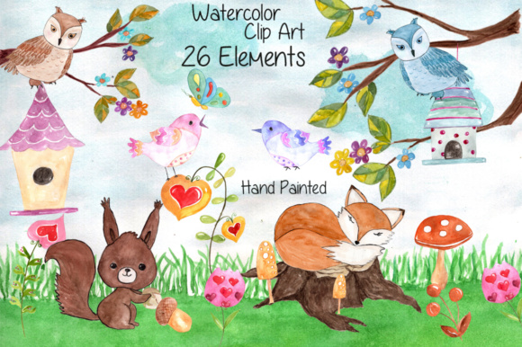 Watercolor Forest Animals Clip Art Graphic Illustrations By vivastarkids