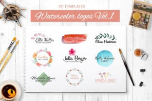 Watercolor Logo Templates V.1 Grafik Logos von switzershop