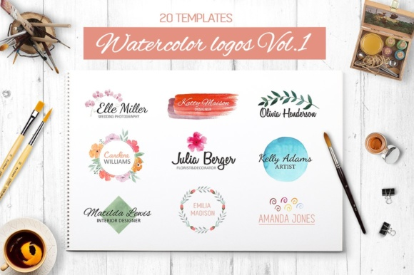 Watercolor Logo Templates V.1 Graphic Logos By switzershop
