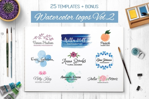 Watercolor Logo Templates V.2 Graphic By switzershop