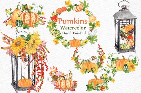 Watercolor Pumpkin Clipart Design Graphic Illustrations By LeCoqDesign