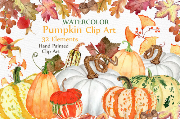 Watercolor Pumpkin Autumn Clipart Grafik Illustrationen von LeCoqDesign