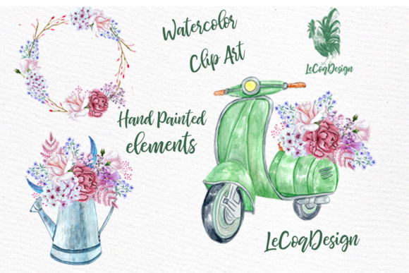 Download Free Pink Flower Watercolor Roses And Scooter Clipart Graphic By for Cricut Explore, Silhouette and other cutting machines.