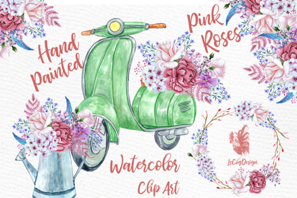 Pink Flower Watercolor Roses and Scooter Clipart Graphic Illustrations By LeCoqDesign