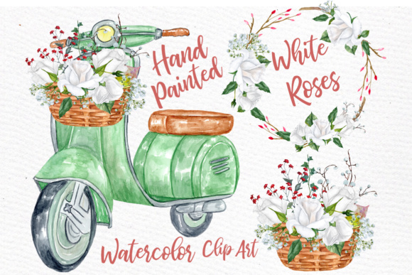 Watercolor Roses Clipart  White Flowers Clipart White Roses Clipart Wedding Invitation DIY Invites Greeting Card Graphic Illustrations By LeCoqDesign