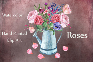 Print on Demand: Watercolor Roses Clipart Graphic Illustrations By LeCoqDesign